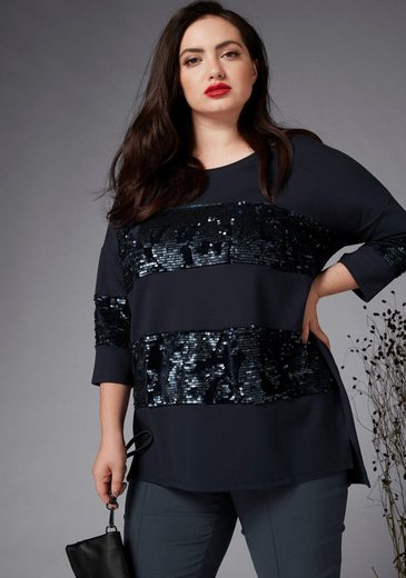 GMK Curvy Collection Langarmshirt mit Pailletten-Besatz