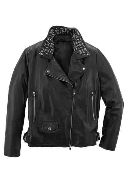 GMK Curvy Collection Bikerjacke mit Nietenapplikationen am Kragen