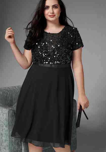 GMK Curvy Collection A-Linien-Kleid mit glitzernden Pailetten