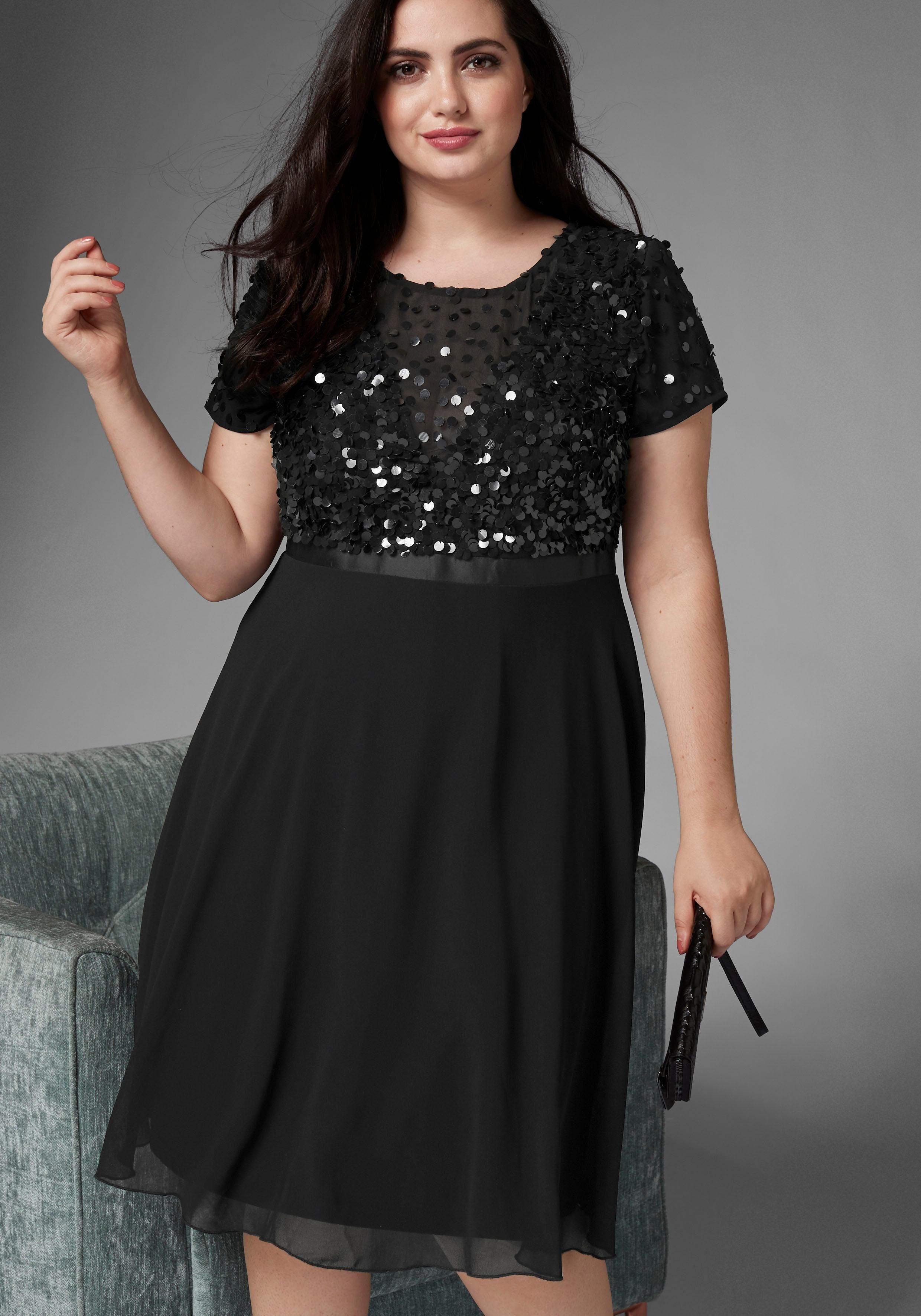 GMK Curvy Collection A-Linien-Kleid mit glitzernden Pailetten