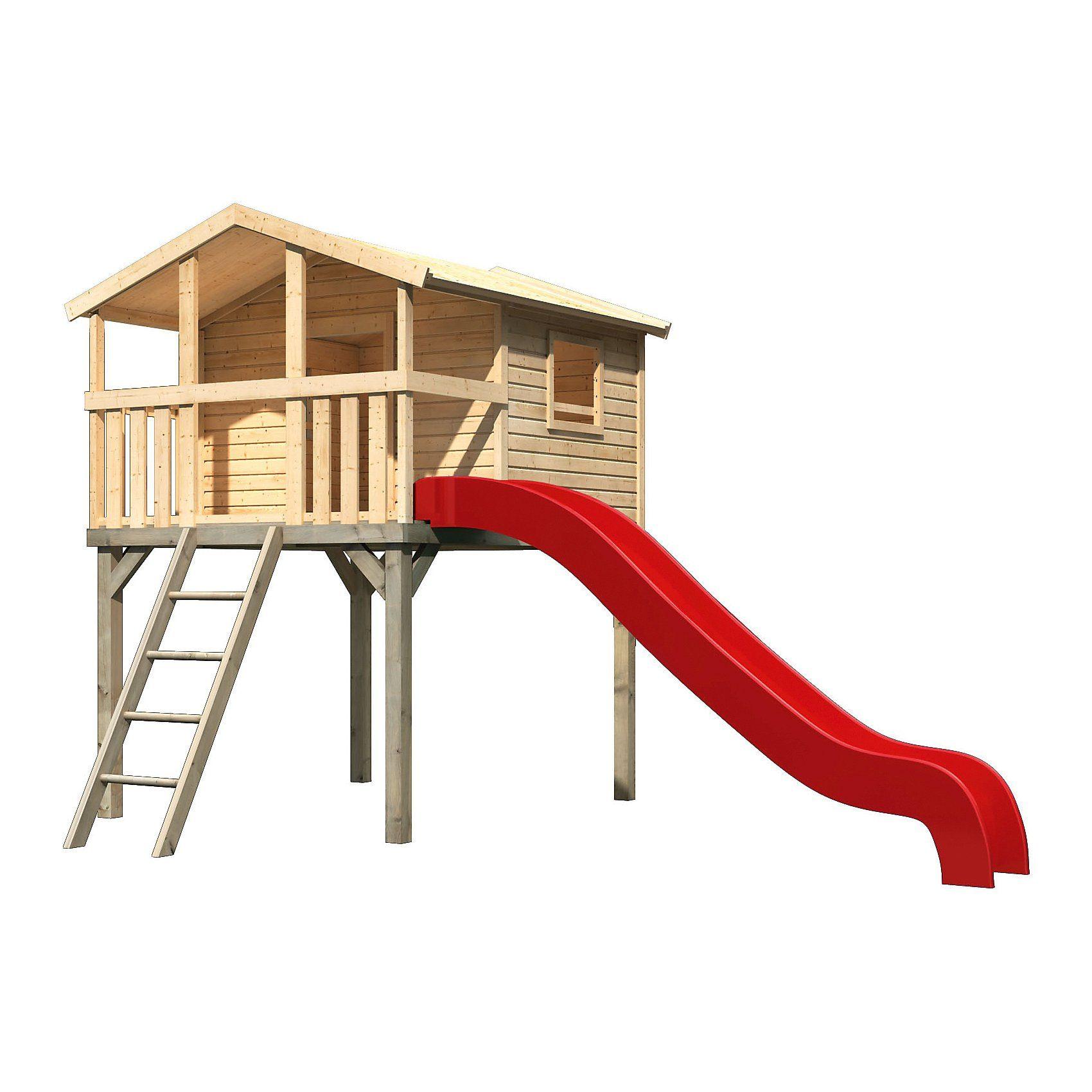 Karibu Stelzenhaus Benjamin im Set mit Rutsche rot