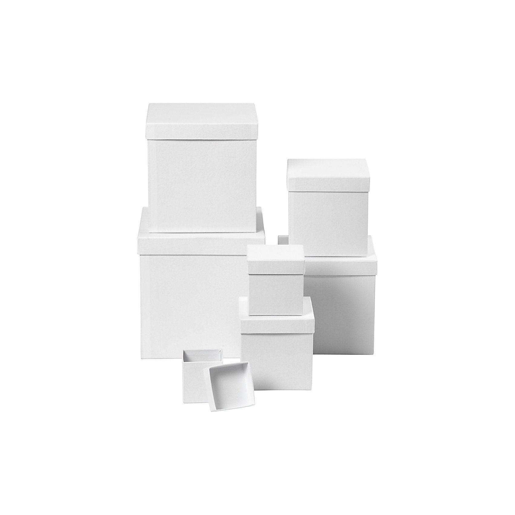 Quadratische Kartons, Größe 7,5+10+13+15+18+20+23 cm, H 7,5+