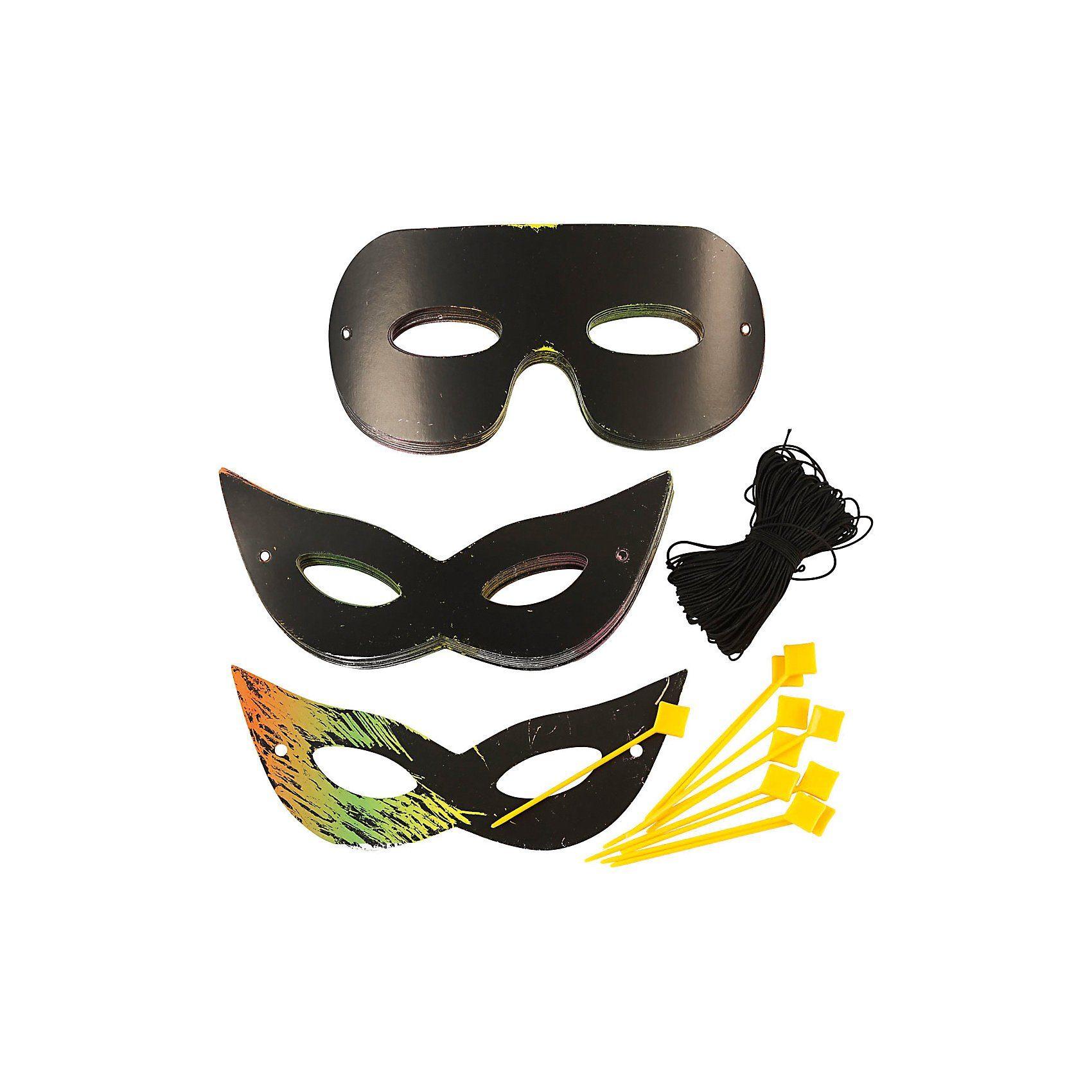 Kratz-Masken, H 7 cm, B 18 cm, 60 Stck., Neonfarben, Schwarz