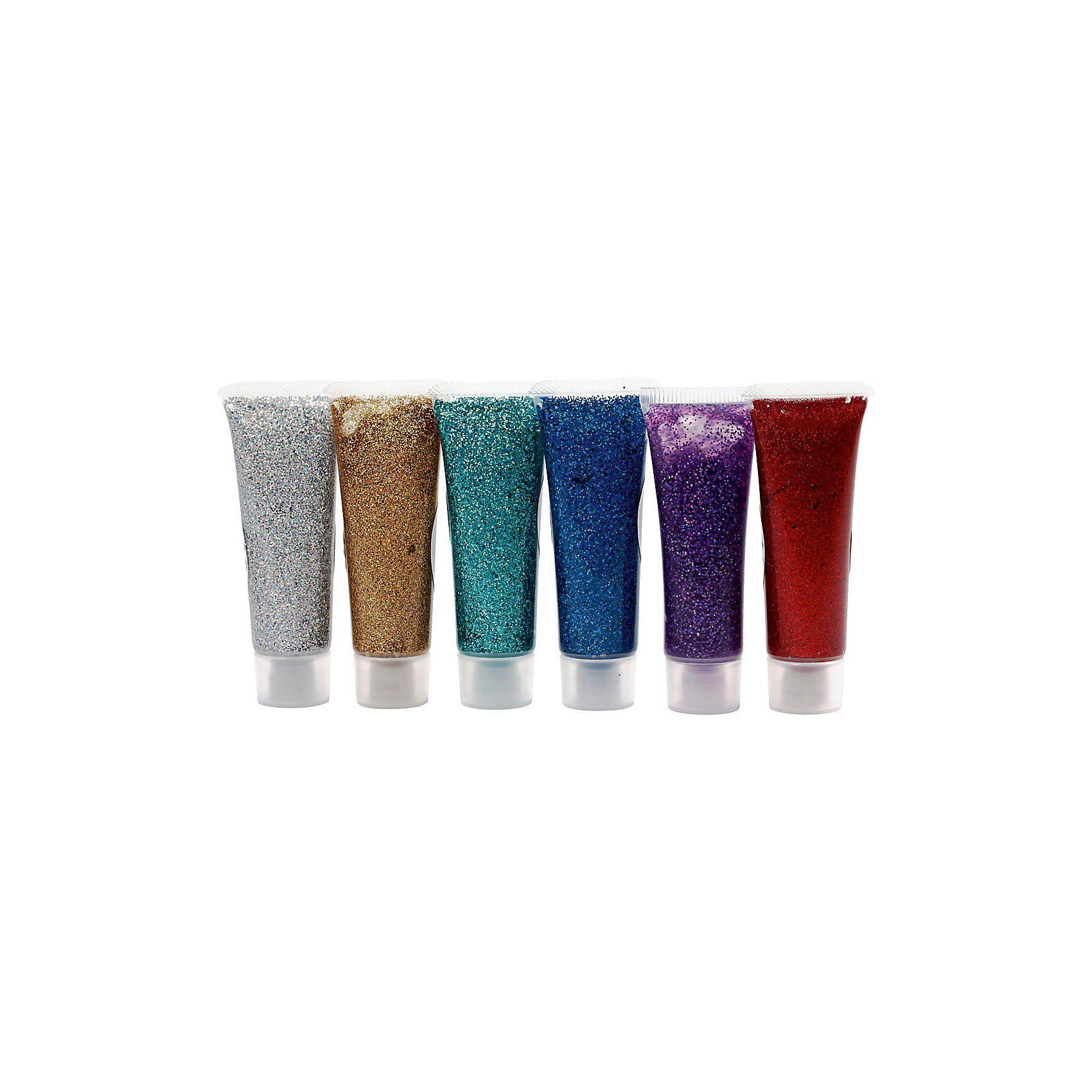 Glitzer-Gel - Sortiment, 6x18 ml, Sortierte Farben