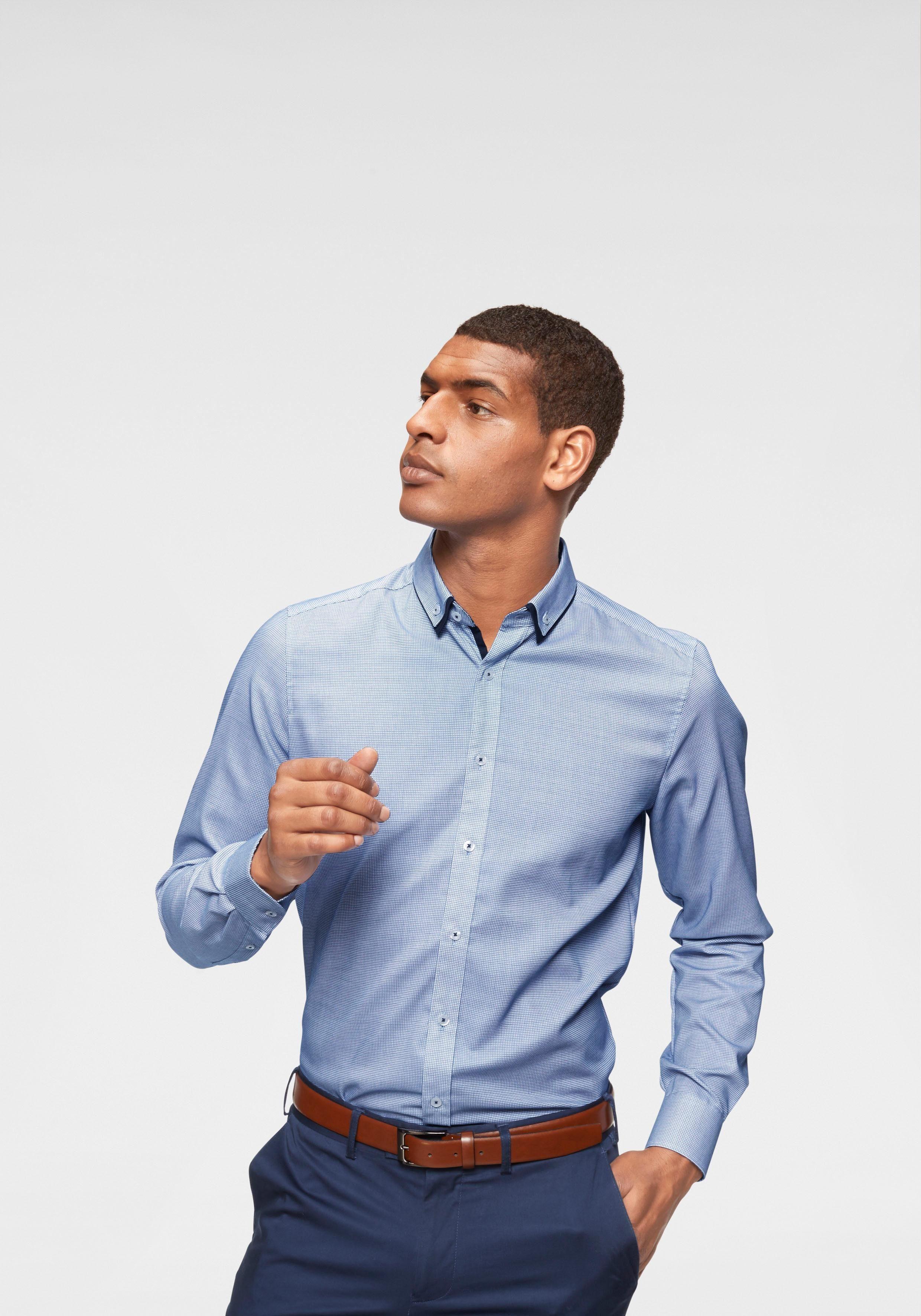 Bruno Banani Businesshemd »Slim-fit« kleines Karomuster, bügelfrei