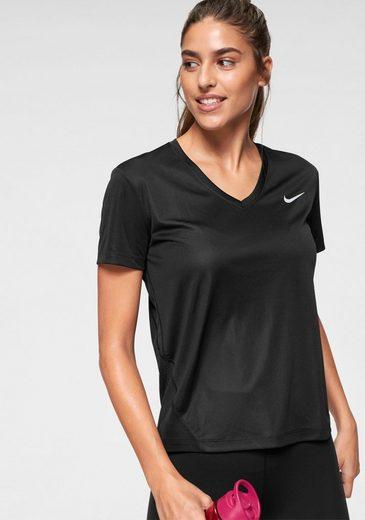 Nike Laufshirt »W NK MILER TOP VNECK« Mesheinsatz