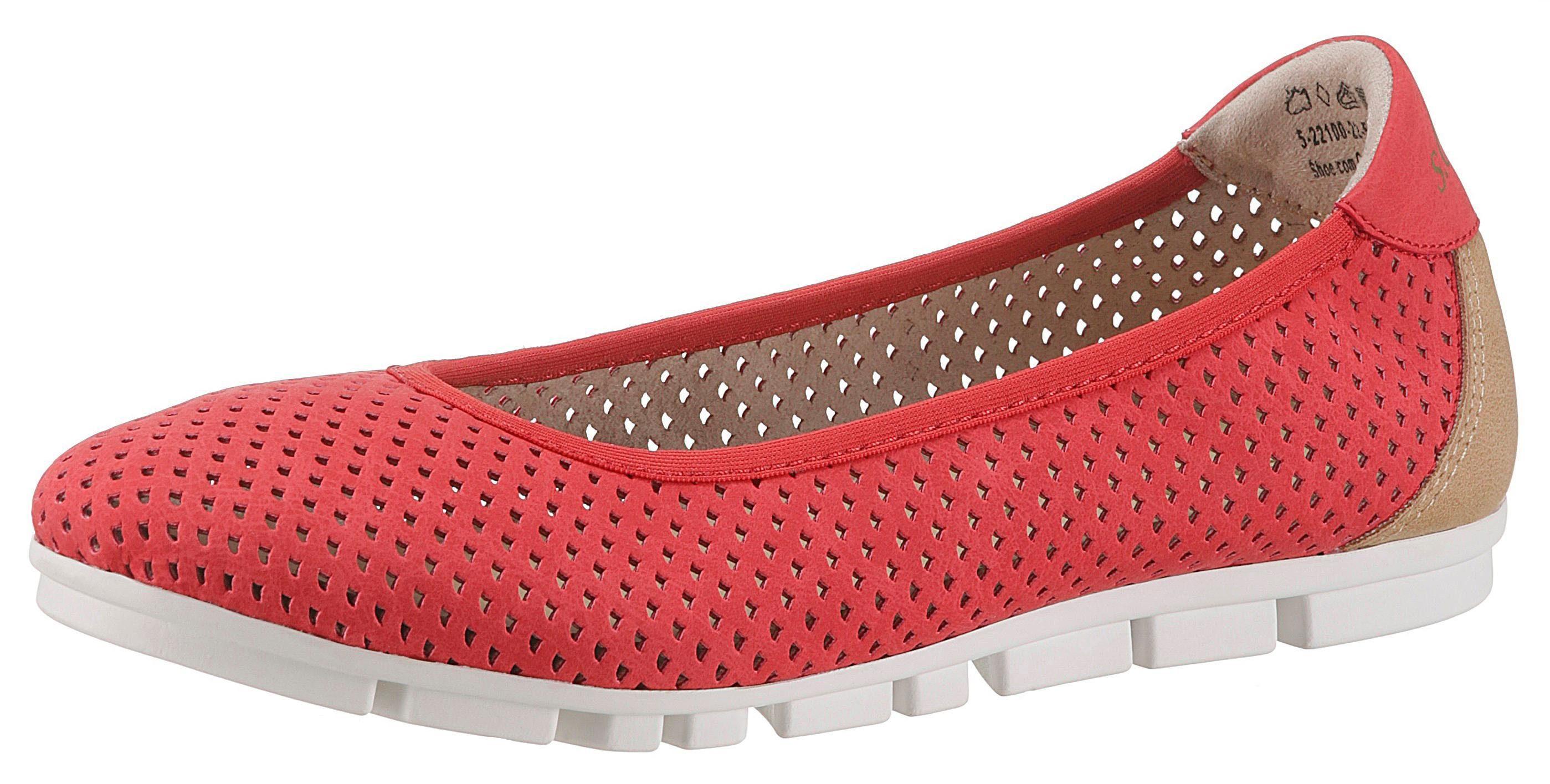 s.Oliver RED LABEL Sneaker Ballerinas mit sommerlichen Perforierung