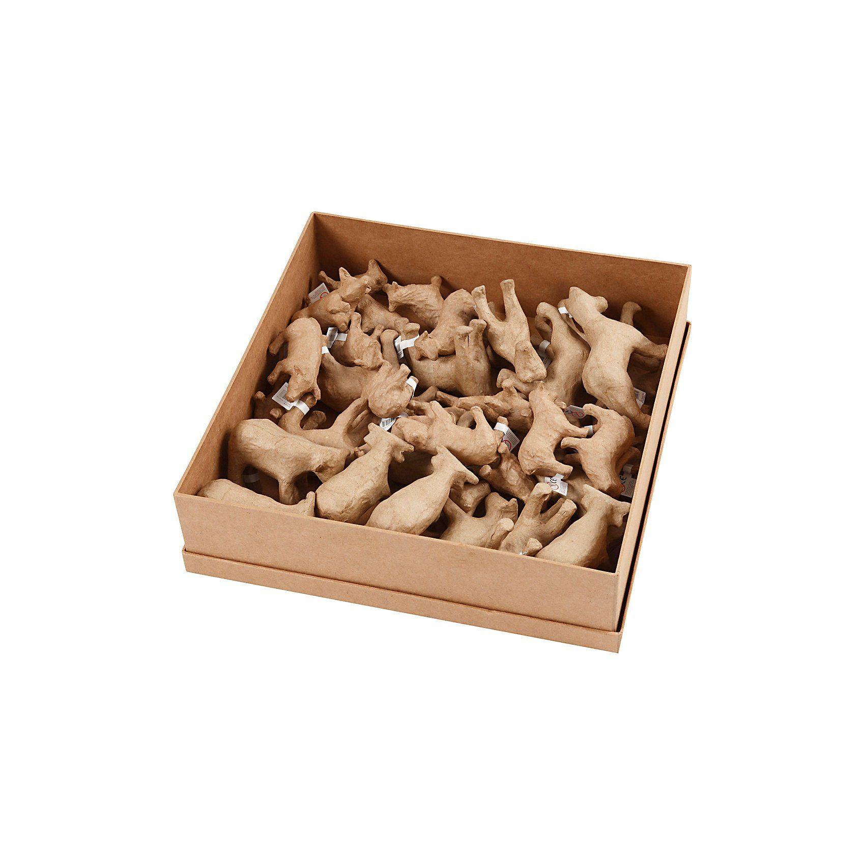 Pappmaché Bauernhof-Tiere, H 5-10,5 cm, L 9-12 cm, 32 Stück