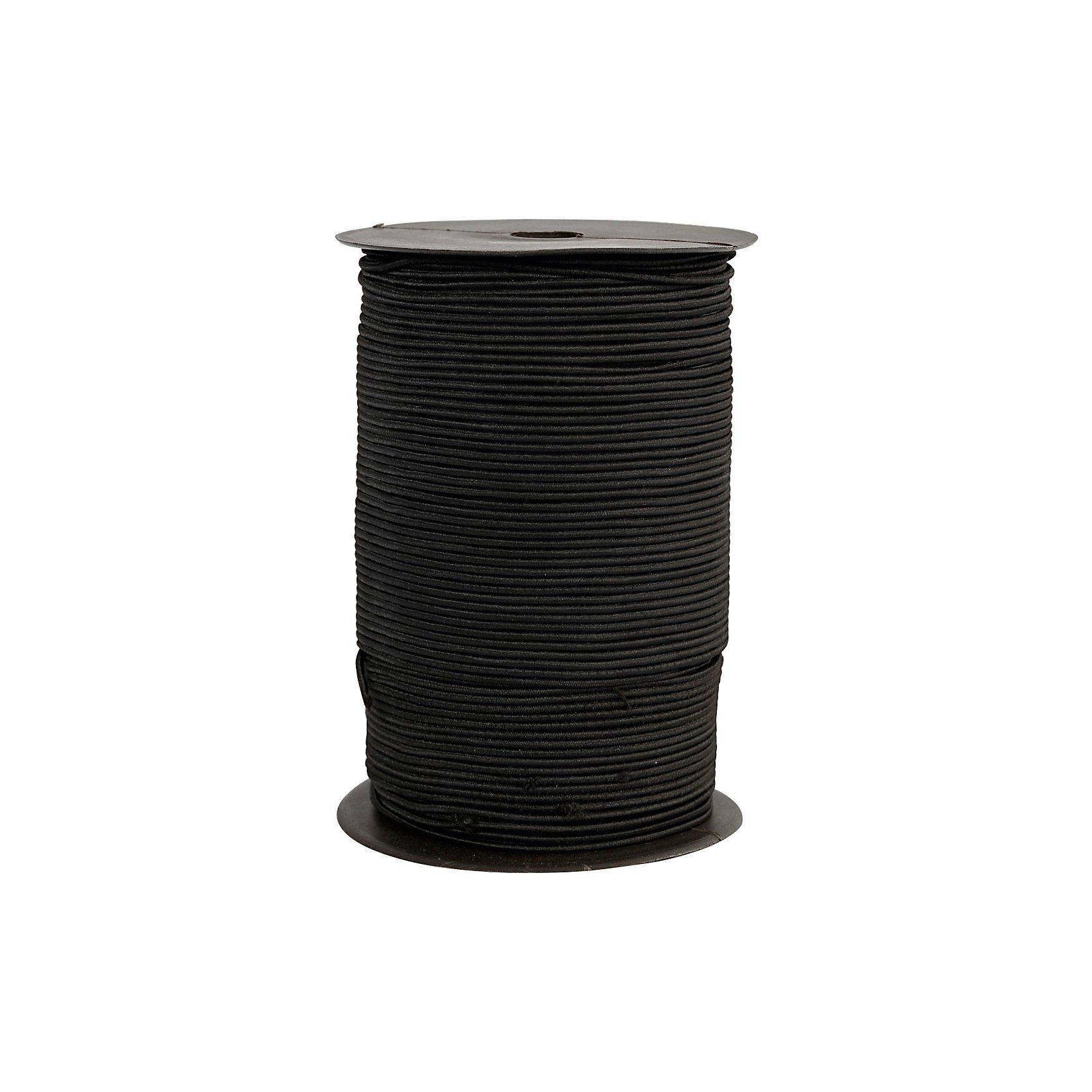 Elastikband, Stärke: 2 mm, 250 m, Schwarz