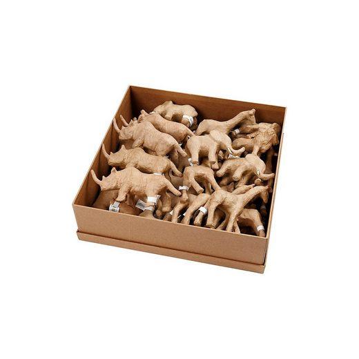 Pappmaché-Tiere - Sortiment, H 7,5-10 cm, 32 Stück