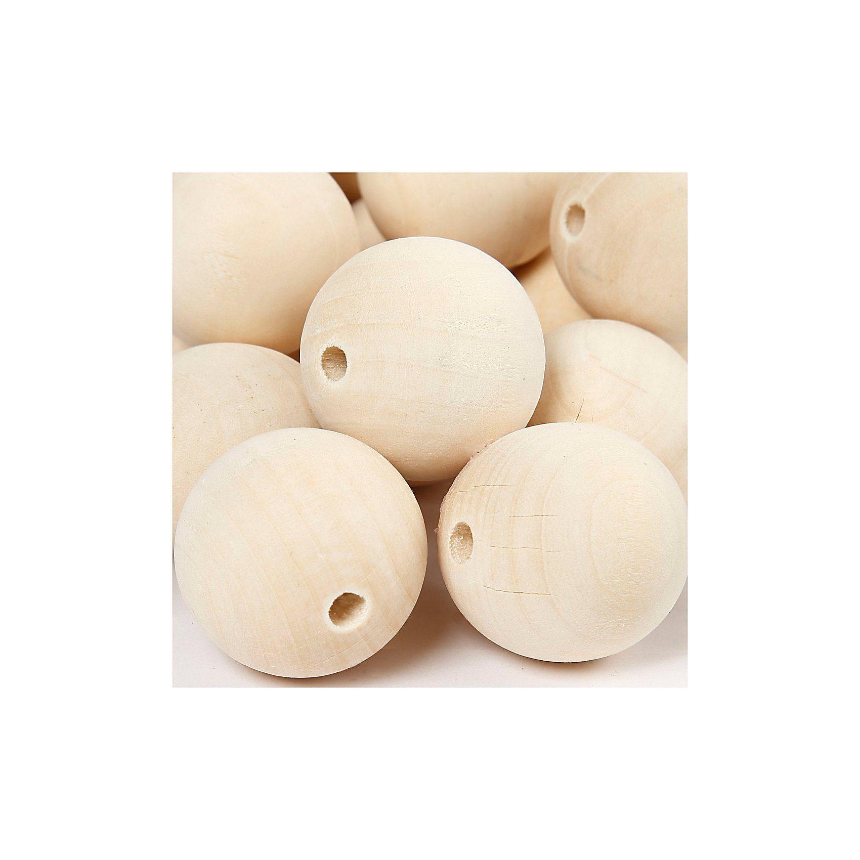 Holzperlen, D: 35 mm, Lochgröße 6 mm, 50 Stck., China berry
