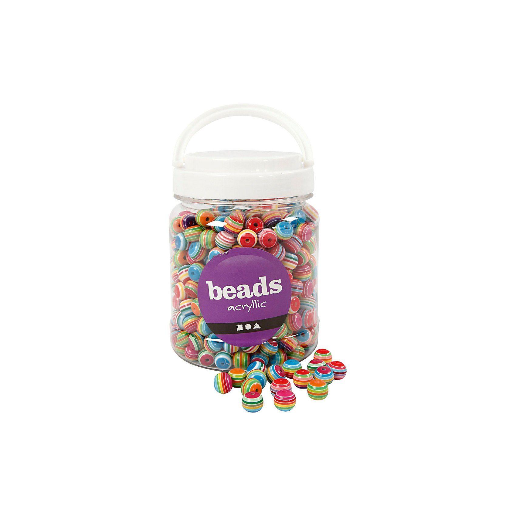 Acryl-Perlen-Mix, D: 12 mm, Lochgröße 1,5 mm, 500 g, ca. 530