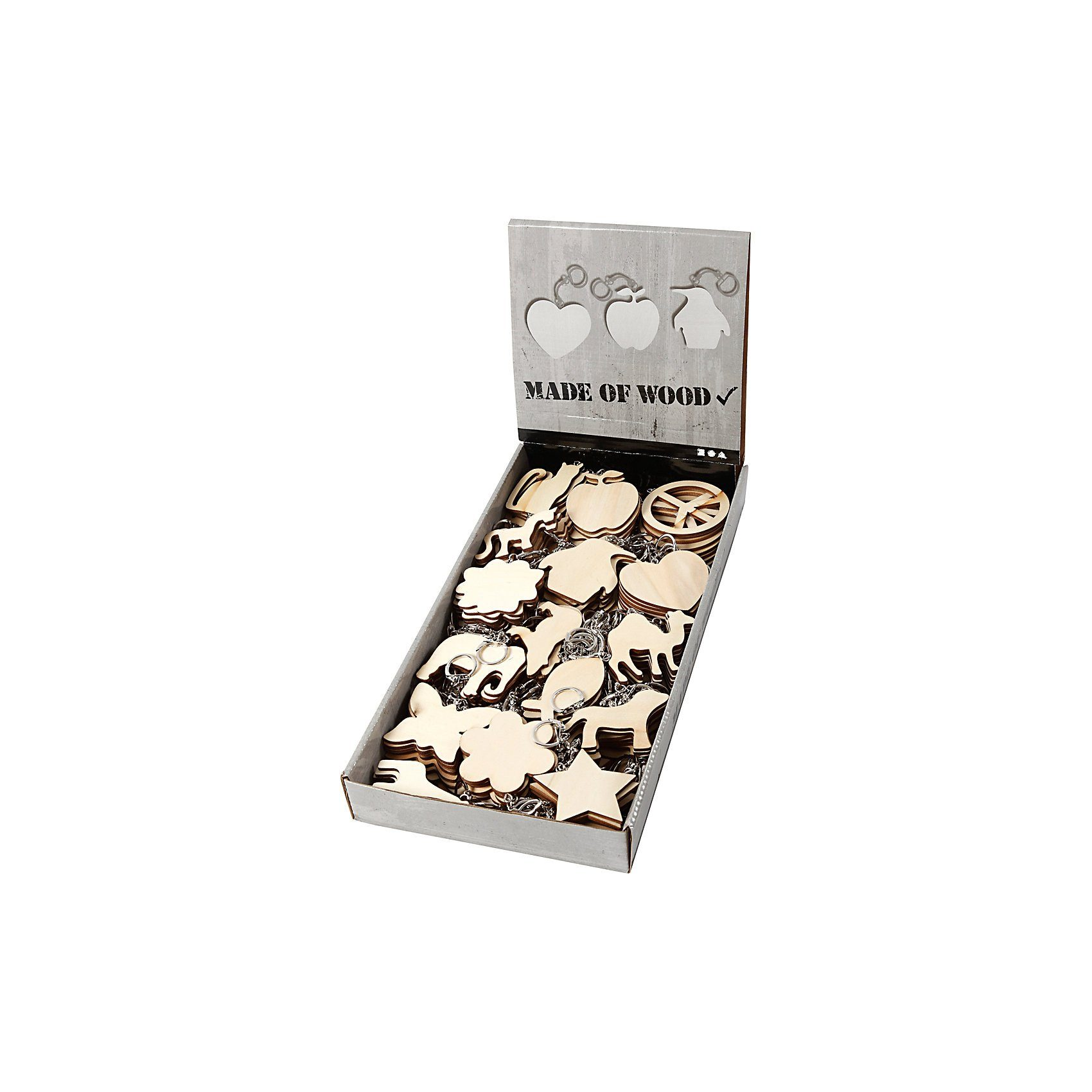 Schlüsselring mit Holzschildern, Größe 7x7 cm, Stärke: 3 mm