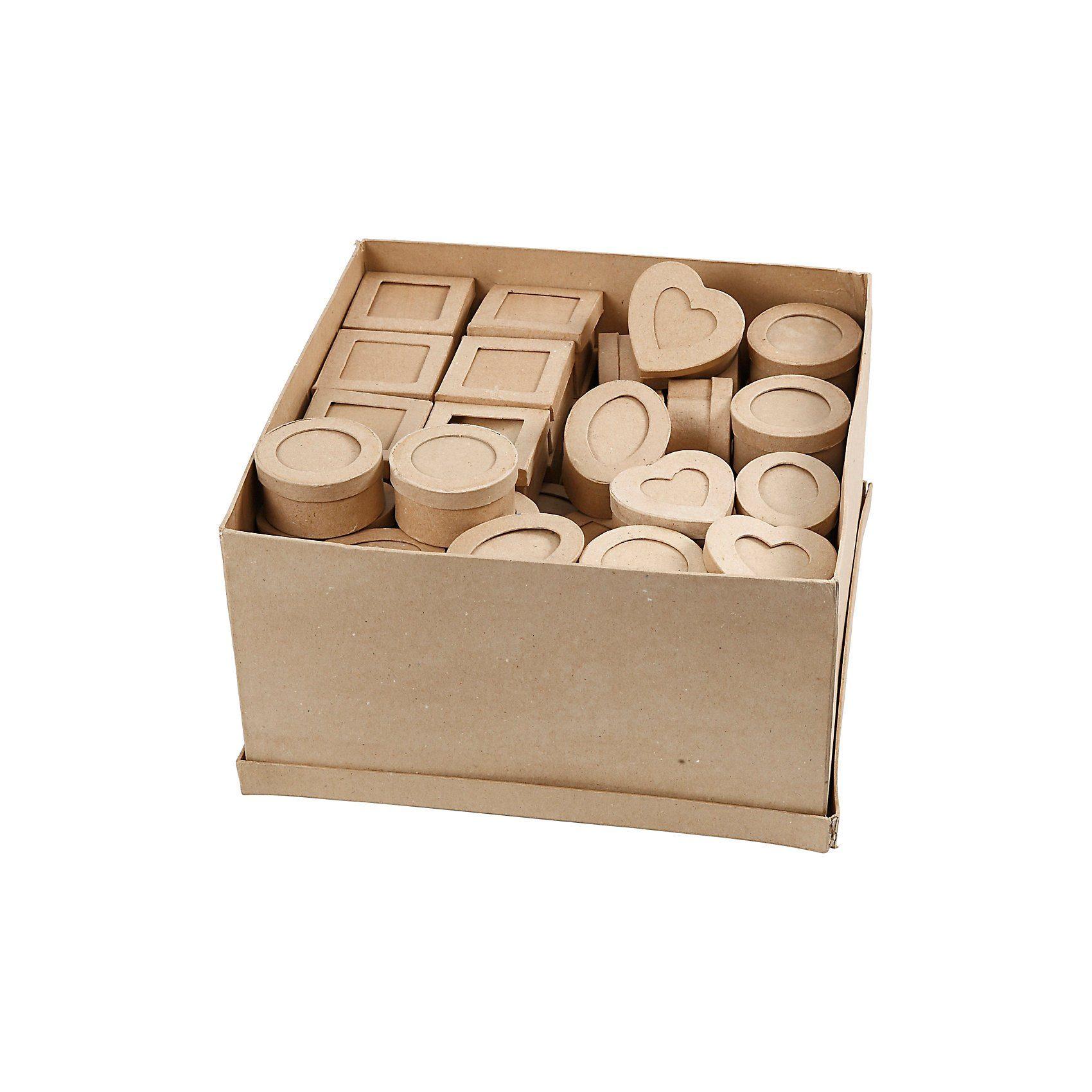 Passepartout-Schachteln, D: 7-8 cm, H 4 cm, 80 Stück