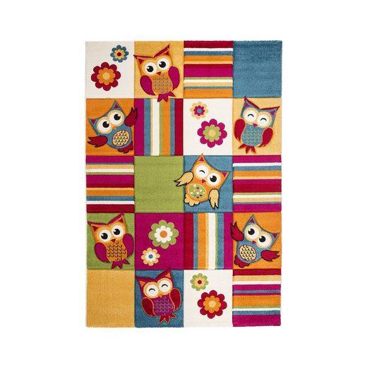 Impression Kinderteppich Rhapsody Lustige Eulen, mehrfarbig, 80 x 150 c
