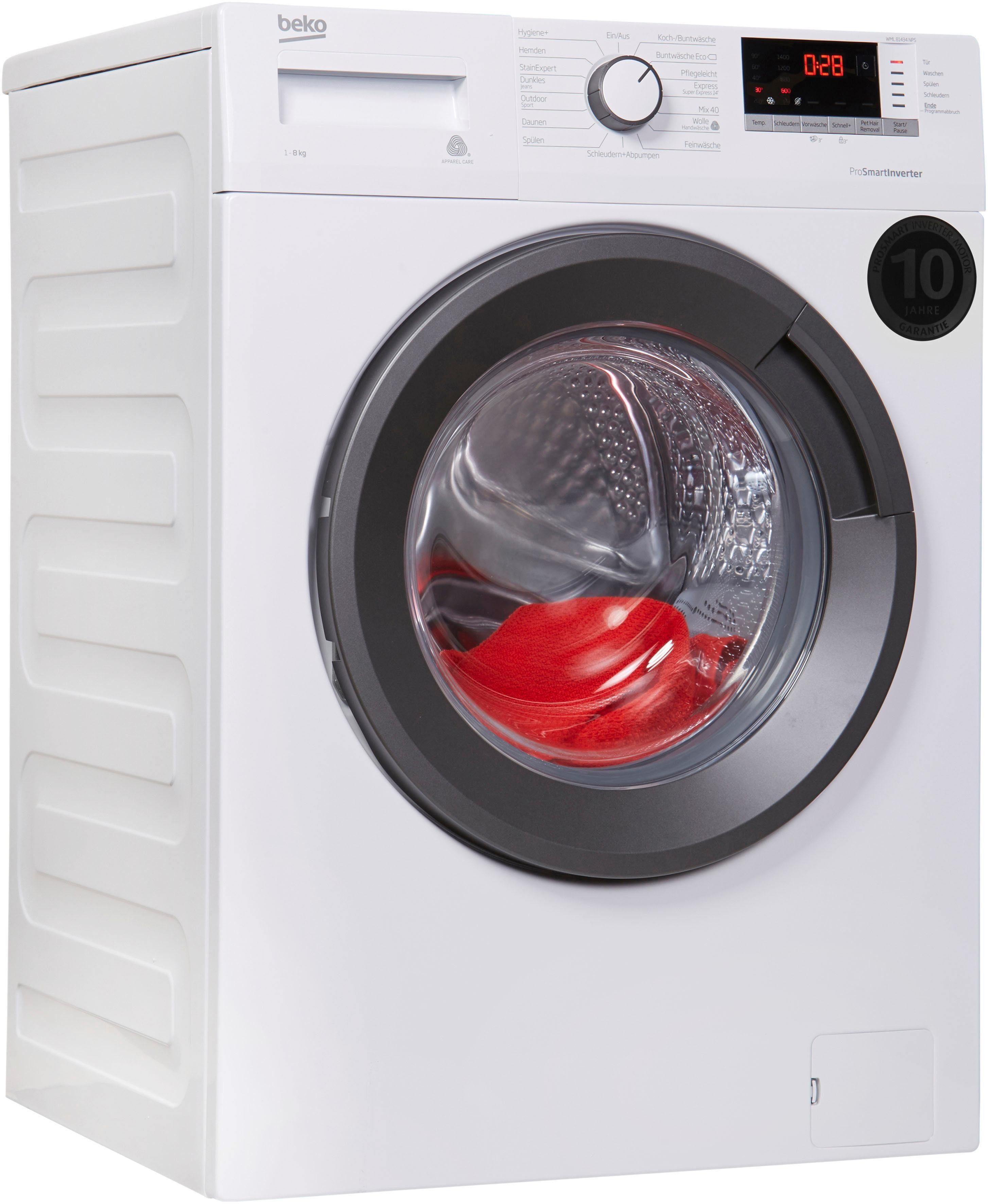 BEKO Waschmaschine WML81434NPS, 8 kg, 1400 U/Min