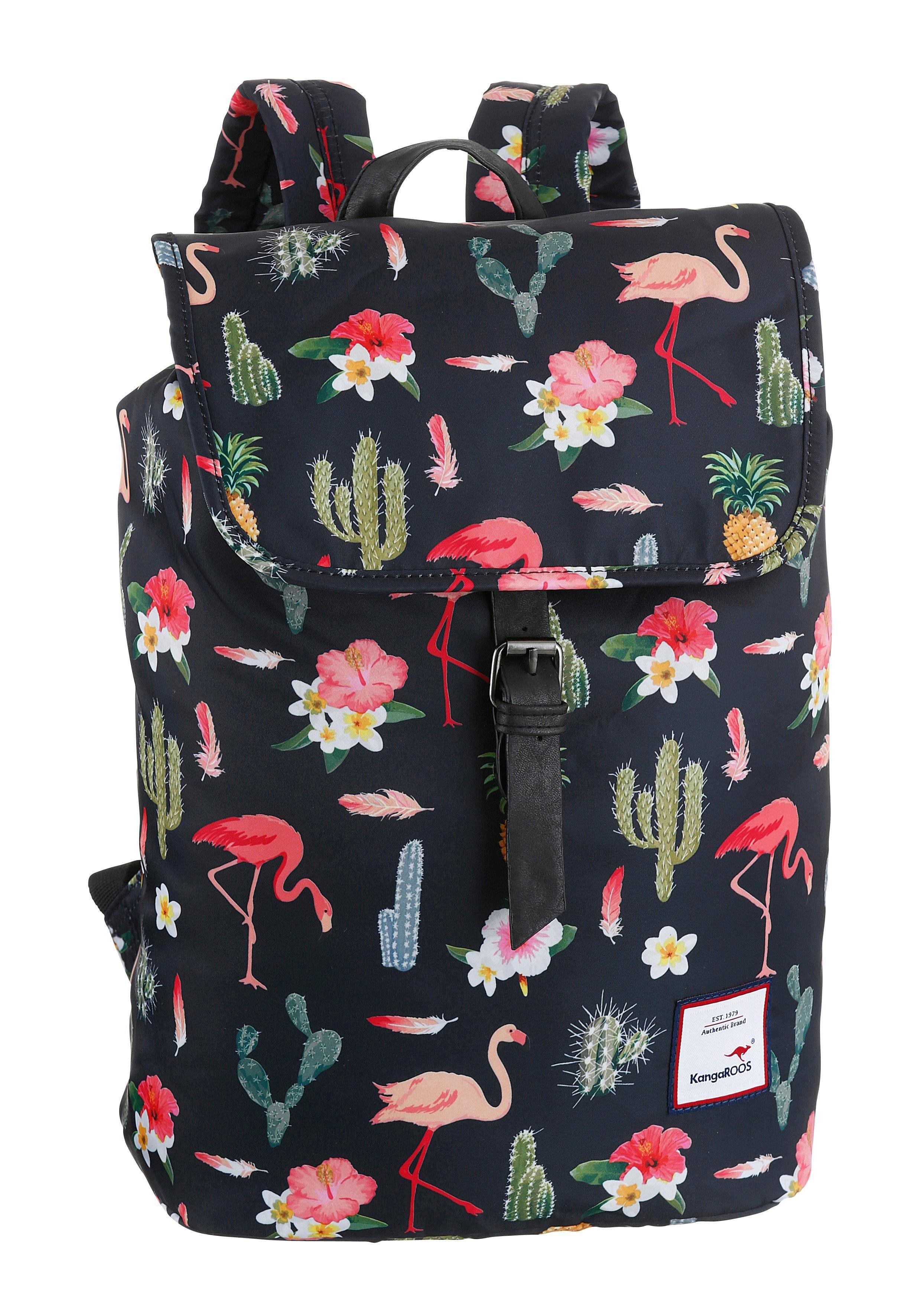 KangaROOS Cityrucksack, mit praktischem Reißverschluss-Rückfach und Flamingo Druck