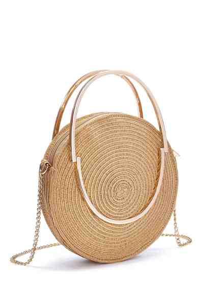 LASCANA Runde Mini-Strandtasche aus Bast