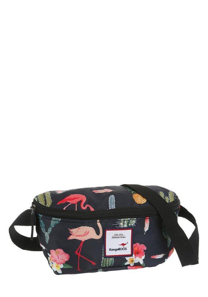 KangaROOS Gürteltasche, kann auch modisch als Cross over bag getragen werden, mit modischem Flamingo Druck   Taschen > Gürteltaschen   Schwarz   KangaROOS