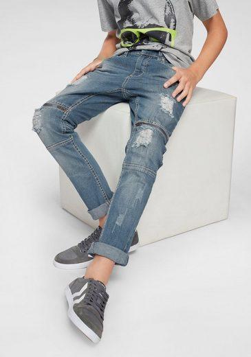 Buffalo Stretch-Jeans, regular fit mit schmalem Bein und dekorativen Zippern über dem Knie