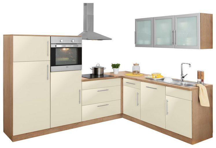 wiho Küchen Winkelküche »Aachen«, mit E-Geräten, Stellbreite 270 x 220 cm