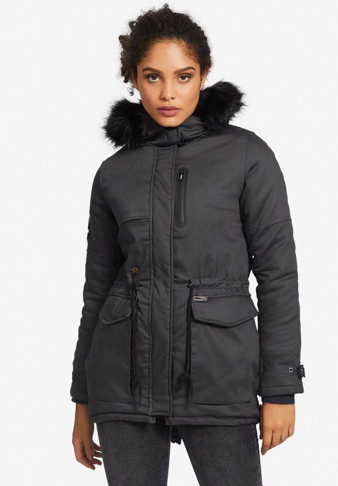 Damen khujo  Wintermantel ROSEMARIE mit großen Taschen grau | 04056852039992
