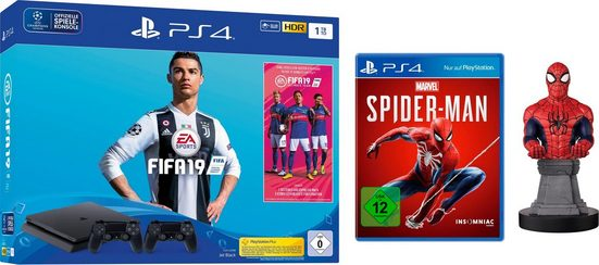 PlayStation 4 Slim (PS4 Slim) 1TB (Bundle, inkl. FIFA 19 + 2.Controller + Spider-Man + Cable Guy)