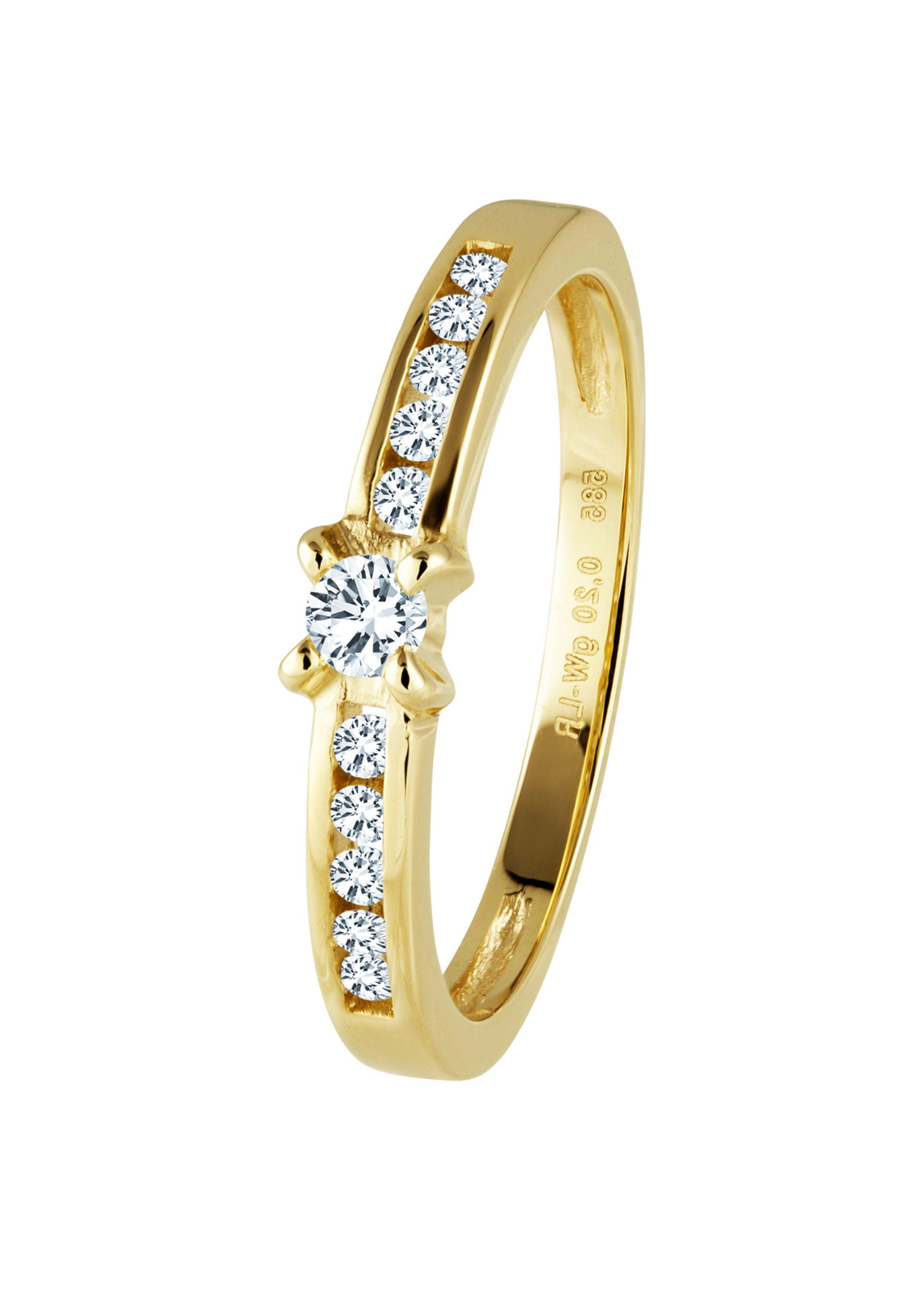 Diamond Line Gold-Ring mit filigranem Diamant-Besatz
