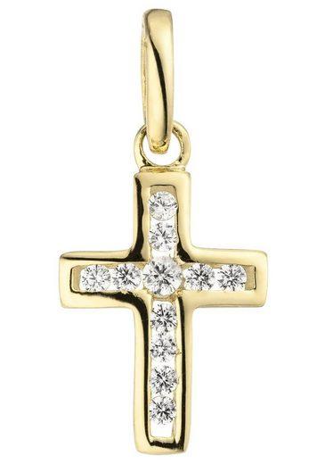JOBO Kreuzanhänger »Kreuz« 375 Gold mit 11 Zirkonia