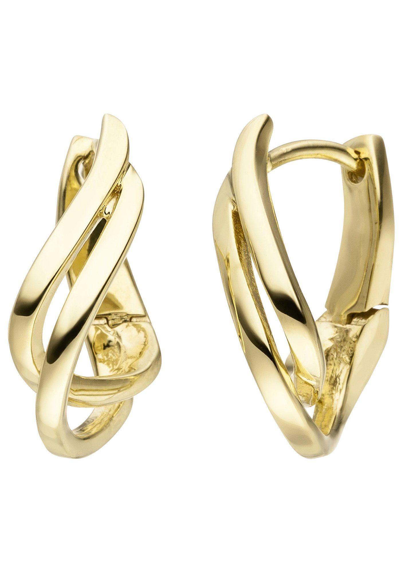 JOBO Paar Creolen geschwungen 375 Gold