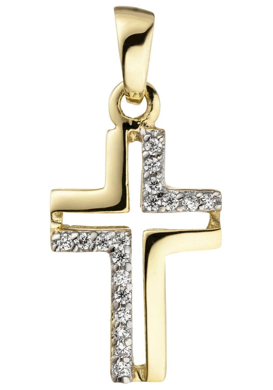 JOBO Kreuzanhänger »Kreuz« 375 Gold mit 18 Zirkonia