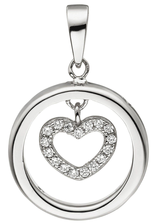 JOBO Herzanhänger »Herz« 925 Silber mit 21 Zirkonia