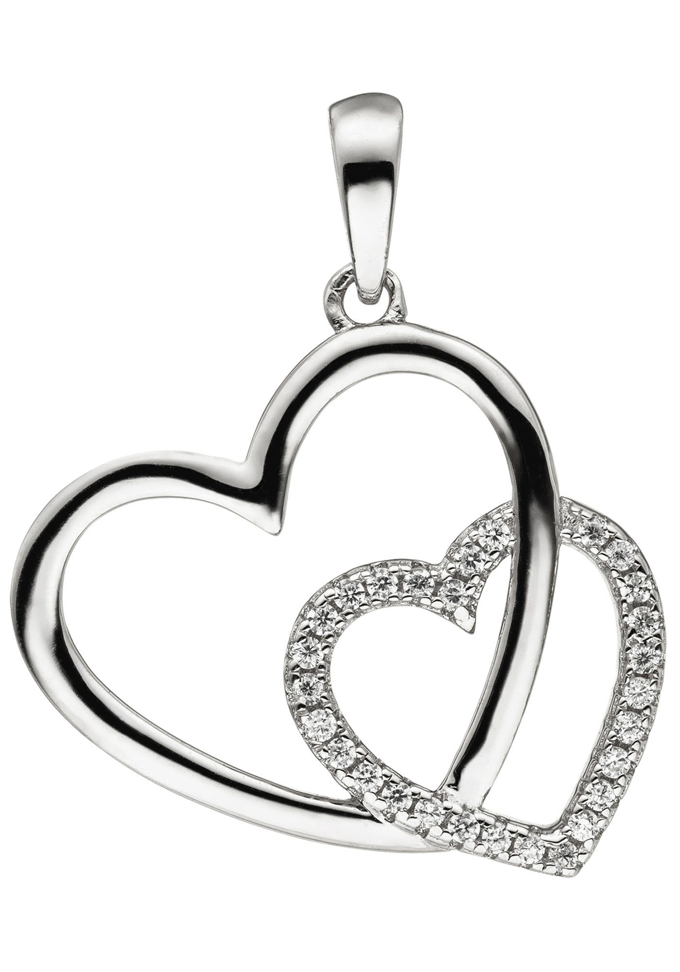 JOBO Herzanhänger »Herz Herzen« 925 Silber mit 28 Zirkonia