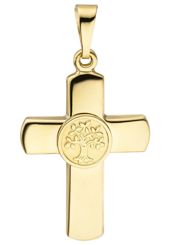 JOBO Kreuzanhänger »Kreuz mit Lebensbaum« 333 Gold