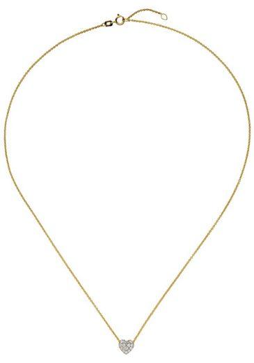 JOBO Collierkettchen »Herz« 375 Gold bicolor mit Zirkonia