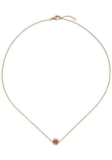 JOBO Collierkettchen 585 Roségold mit 16 Diamanten und Turmalin