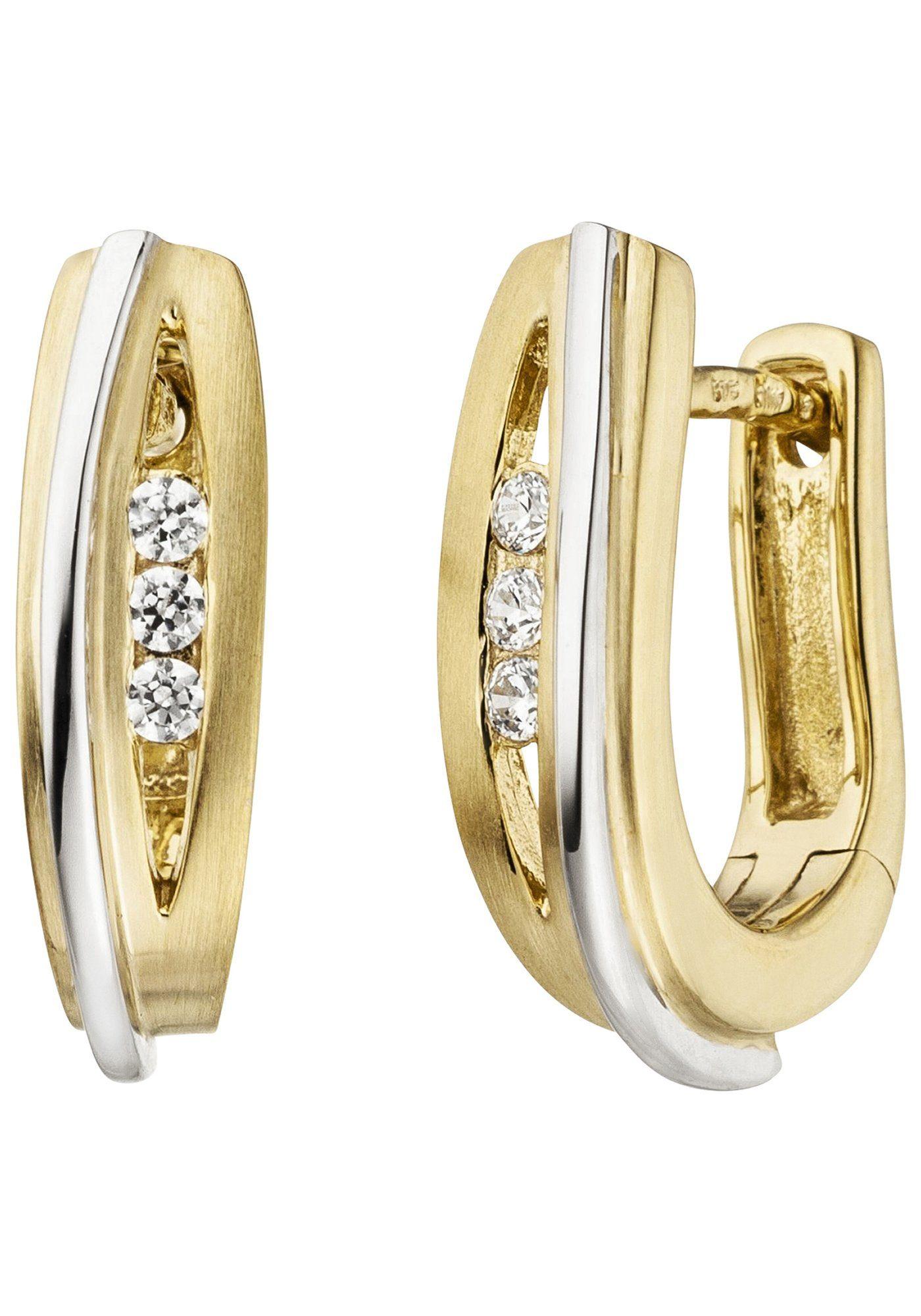JOBO Paar Creolen 375 Gold bicolor mit 6 Zirkonia