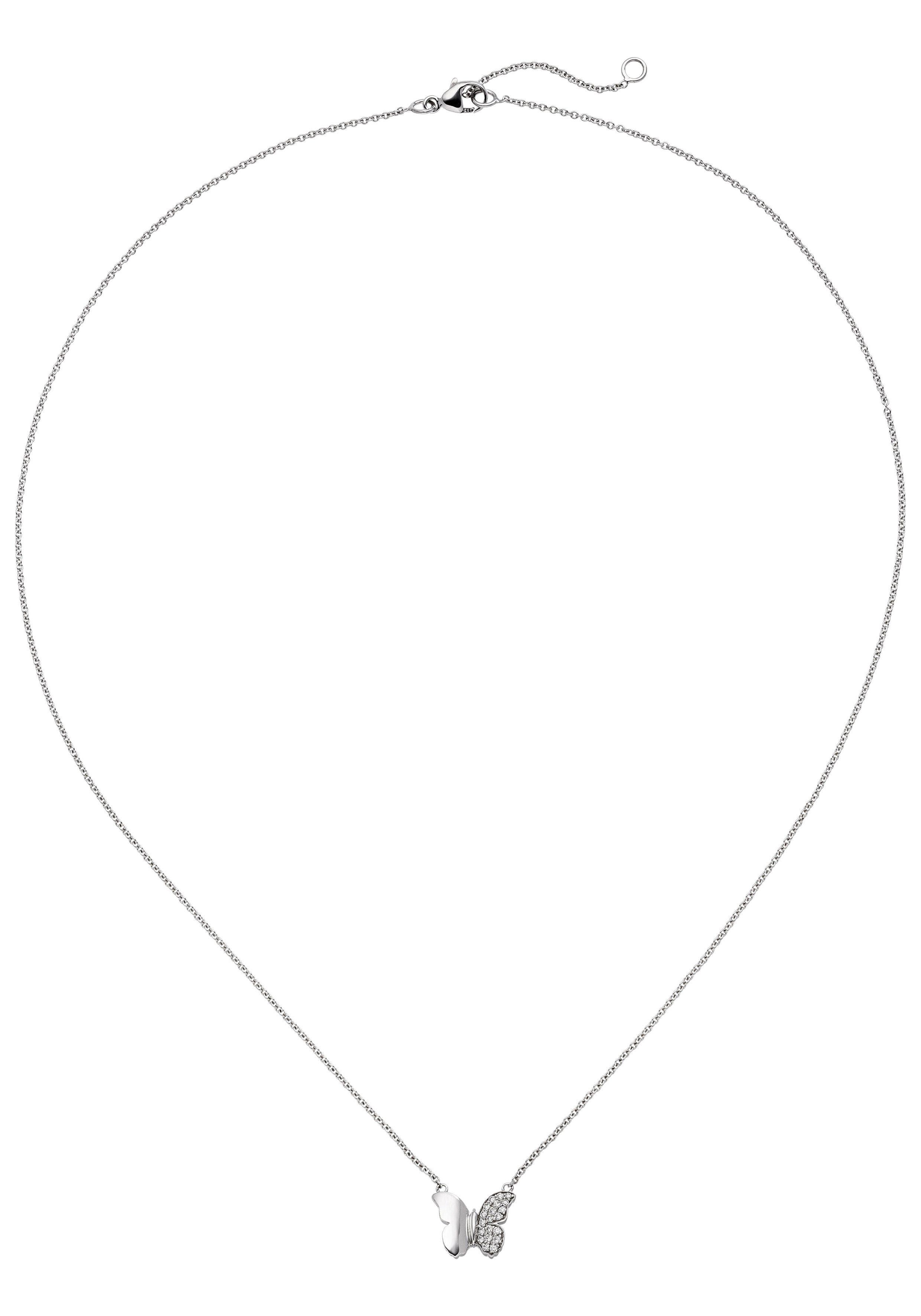 JOBO Collierkettchen »Schmetterling« 585 Weißgold mit 20 Diamanten