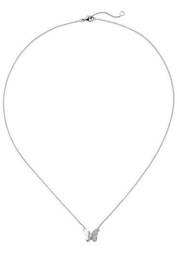 JOBO Collierkettchen »Schmetterling«, 585 Weißgold mit 20 Diamanten