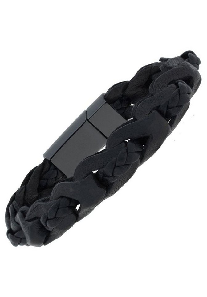 JOBO Lederarmband 2-reihig geflochten Leder mit Keramik 19 cm | Schmuck > Armbänder > Lederarmbänder | Schwarz | Leder | JOBO