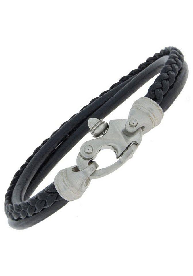 JOBO Lederarmband 3-reihig Leder mit Edelstahl 19 cm | Schmuck > Armbänder > Lederarmbänder | Schwarz | Leder | JOBO