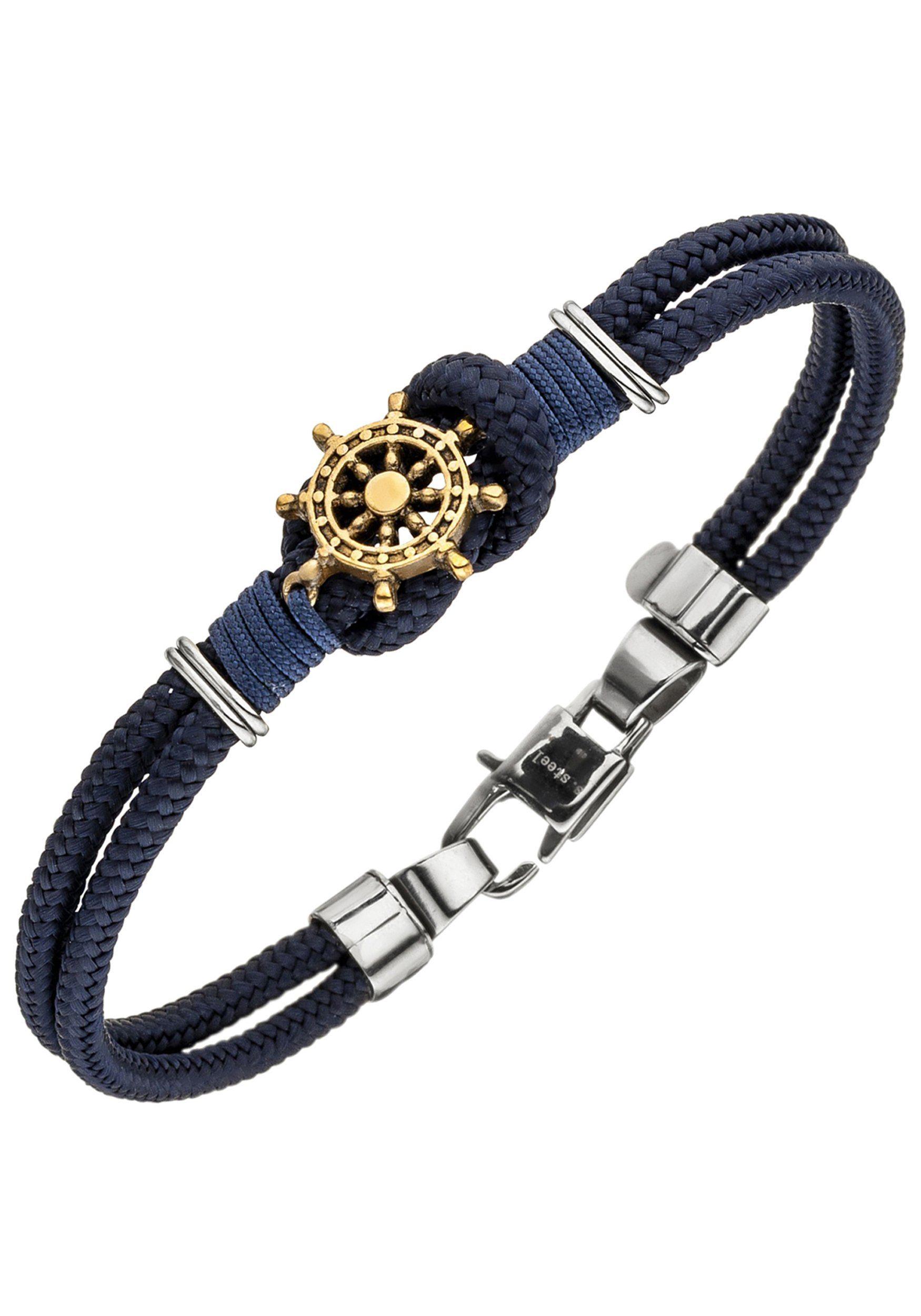 JOBO Armband »Steuerrad« Baumwolle mit Edelstahl 19 cm