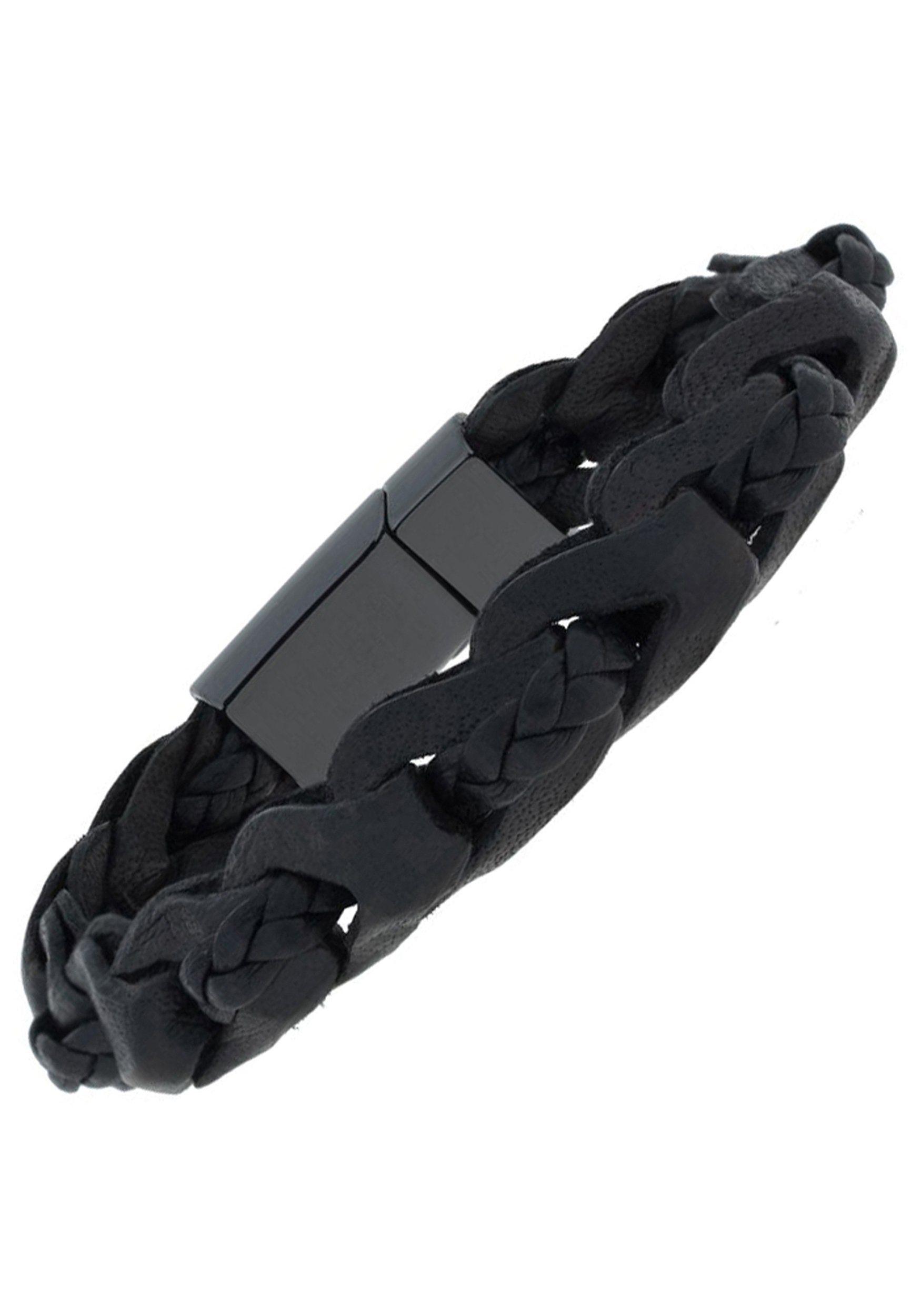 JOBO Lederarmband 2-reihig geflochten Leder mit Keramik 23 cm | Schmuck > Armbänder > Sonstige Armbänder | Schwarz | JOBO