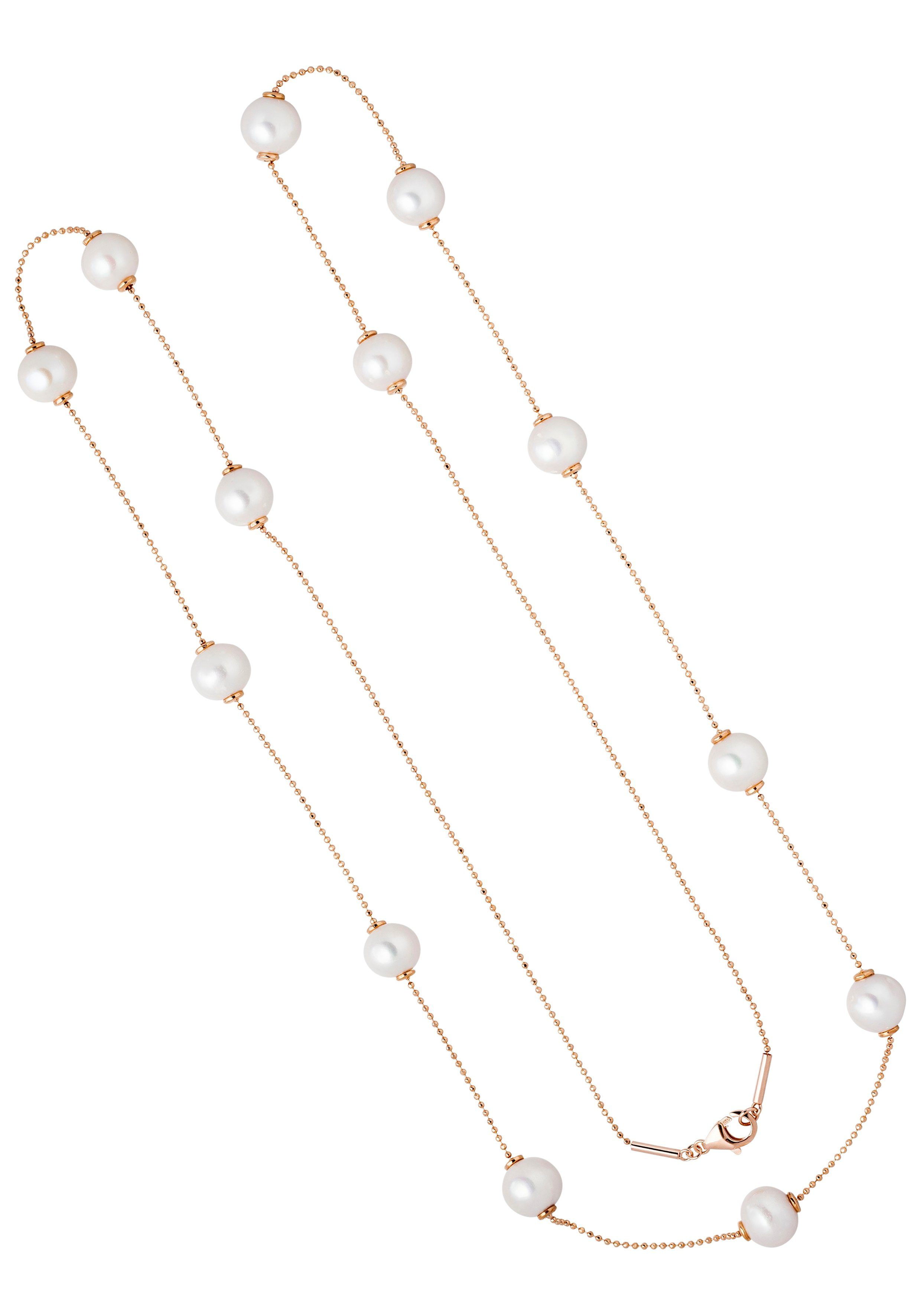 JOBO Collierkettchen 925 Silber roségold vergoldet mit 13 Süßwasser-Zuchtperlen