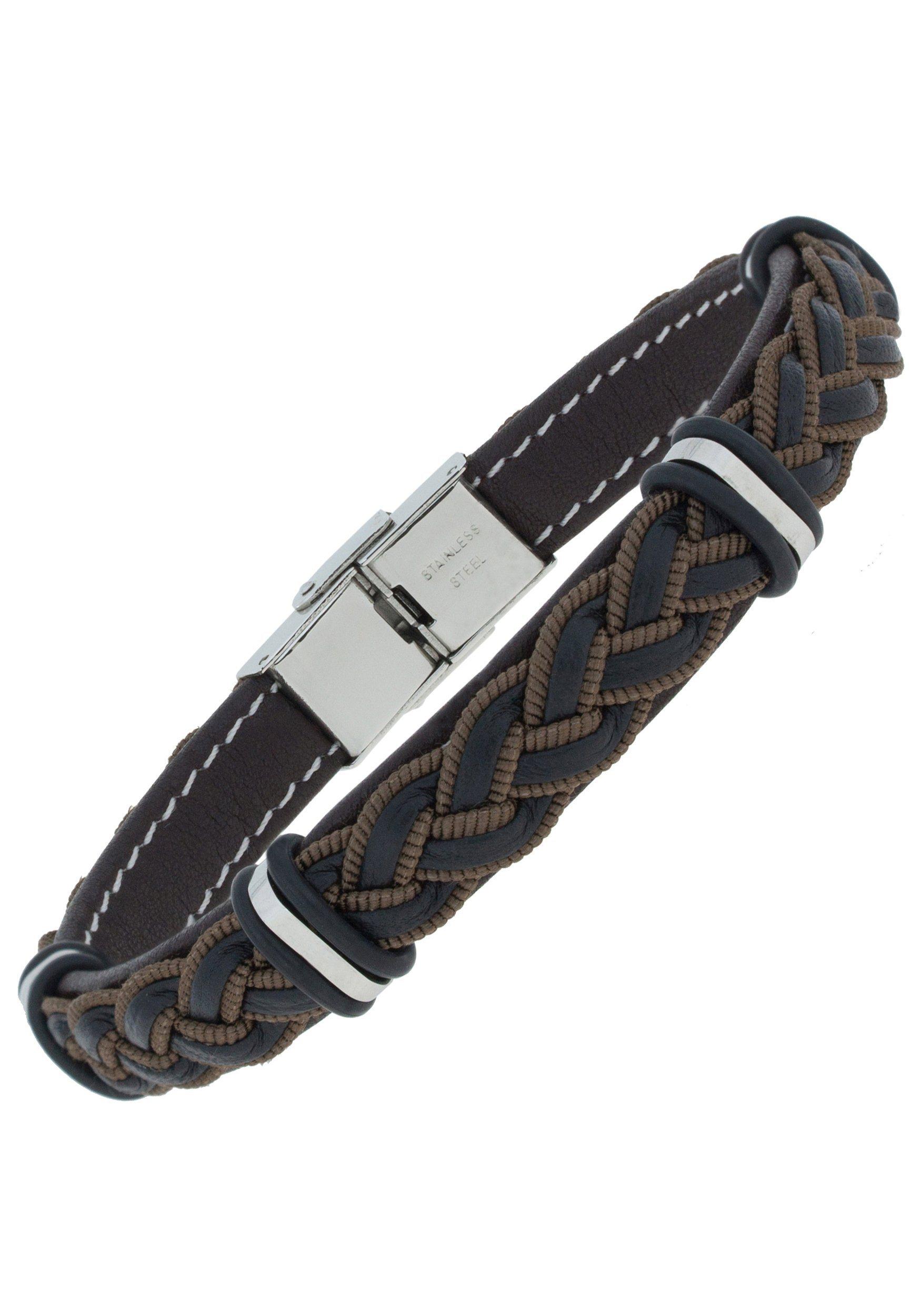 JOBO Lederarmband Edelstahl geflochten mit Edelstahl 23 cm | Schmuck > Armbänder > Lederarmbänder | JOBO