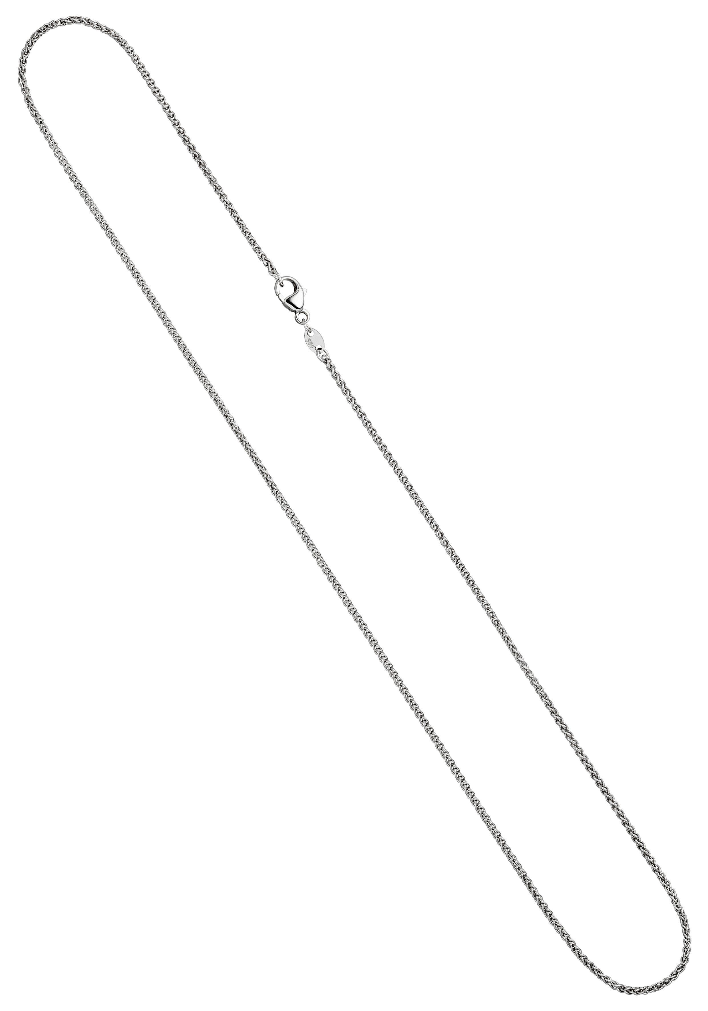 JOBO Goldkette Zopfkette 585 Weißgold 1,8 mm 45 cm
