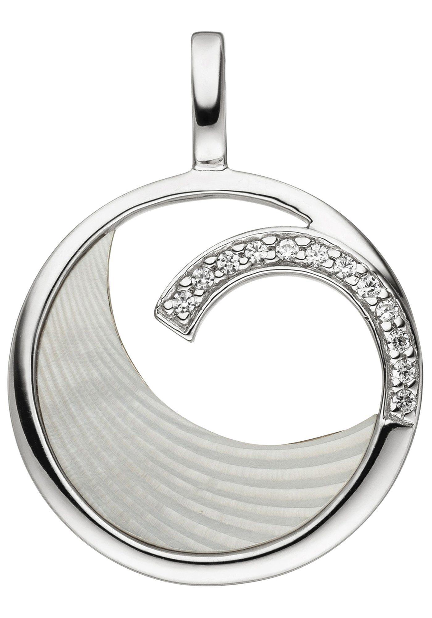 JOBO Kettenanhänger 925 Silber mit Perlmutt Einlage und 12 Zirkonia