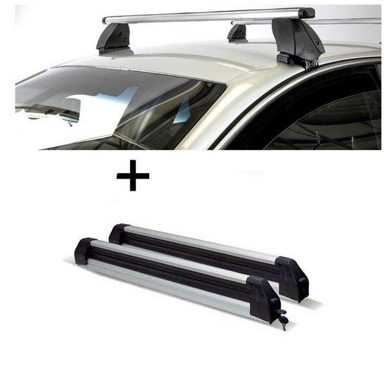 VDP Fahrradträger, Skiträger Silver Ice ausziehbar + Dachträger K1 PRO Aluminium kompatibel mit Audi A1 (XA) Sportback (5Türer) 12-14