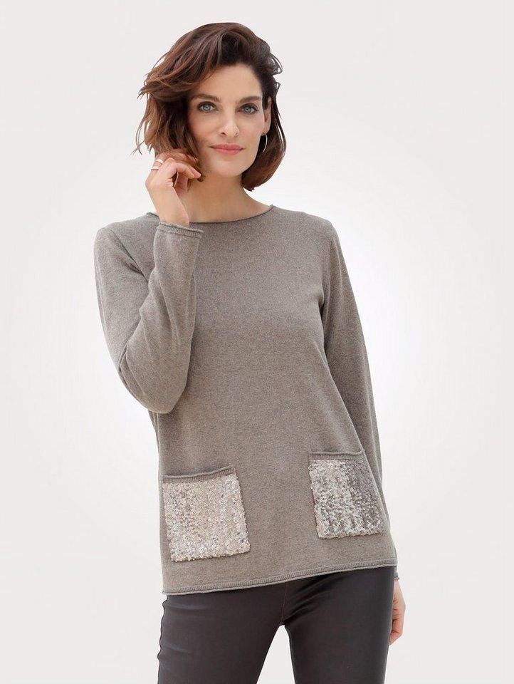 Damen Mona Pullover mit Pailletten-Zier braun   04055717259254