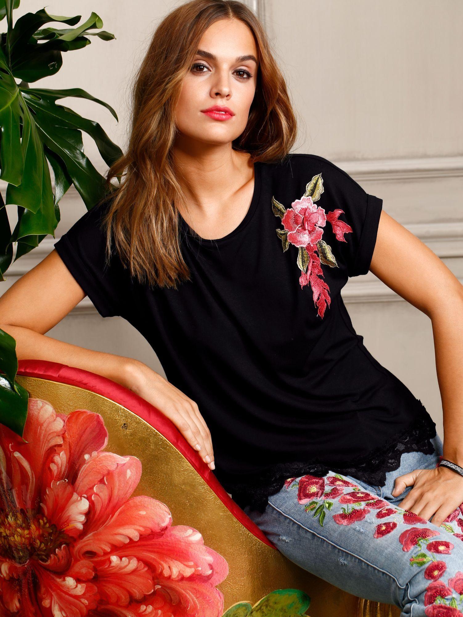 Alba Moda Shirt mit Blumenapplikation
